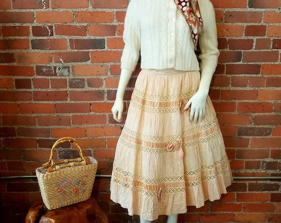 vintage 50s cream blush skirt velvet ribbon bows crochet crinoline feminine romantic patio skirt