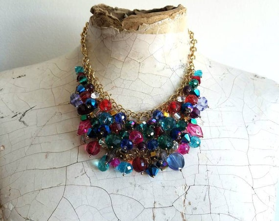vintage colorful jewel tone glass Crystal bead statement necklace set with bracelet