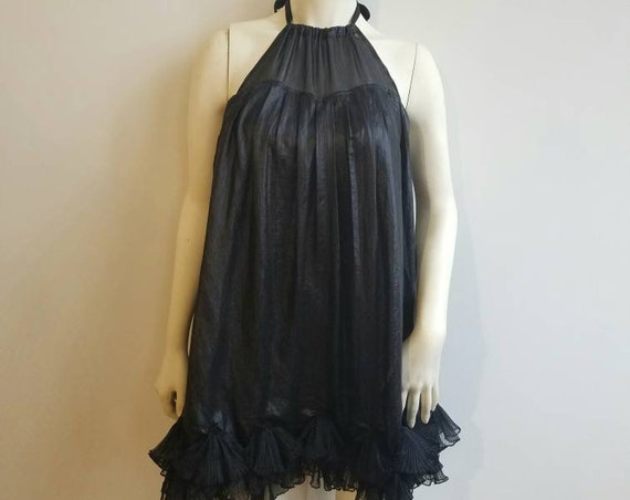 vintage 90s does 60s black ruffled babydoll mini tent dress Mod gogo space age