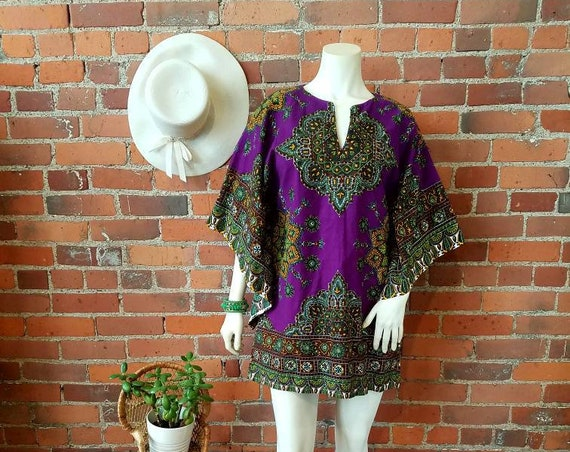 Vintage  60s 70s mini dress tunic cotton psychedelic purple bell sleeves festival hippie ethnic