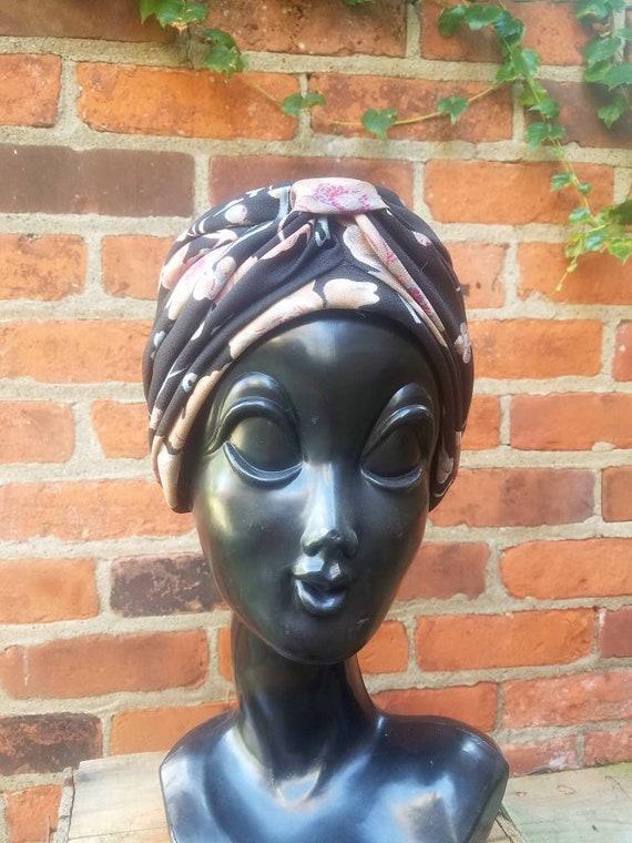 vintage 40s turban hat rayon gaberdine charcoal grey black muted floral print