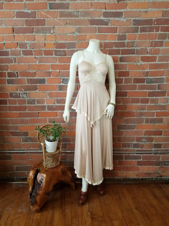 vintage 70s 1970s Je Taime dress Nancy Bracoloni hanky hem crochet cut out summer hippie boho festival ballet slipper champagne