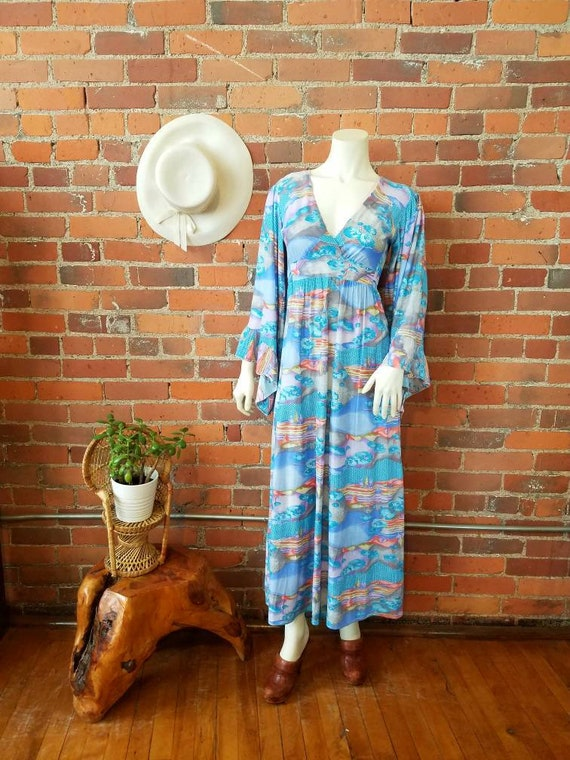Vintage 70s 1970s maxi dress big bell sleeves psychedelic print empire waist Summer Festival hippie goddess boho