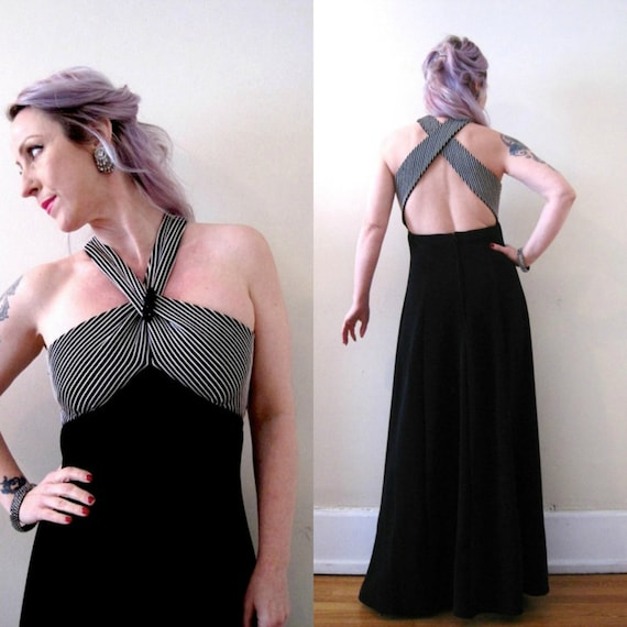 vintage 90s halter neck maxi dress gown / jet rhinestones / open cut out back / black white striped