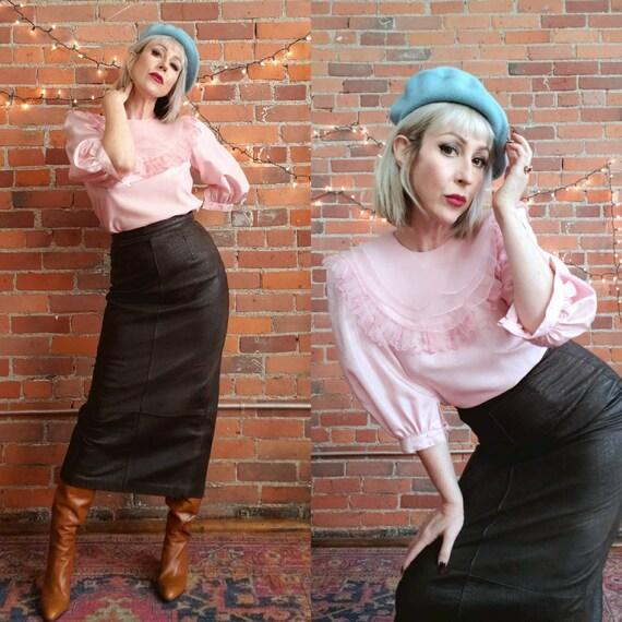 vintage 80s 1980s, statement collar blouse, pink r