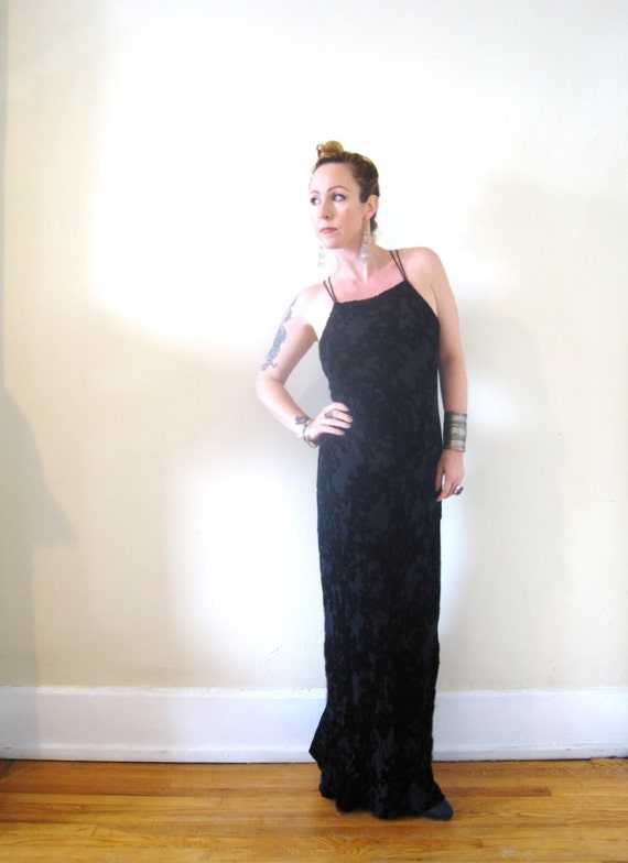 Vintage 90s 1990s burn out burnout black velvet maxi dress boho vamp goth bias cut criss cross open back Express