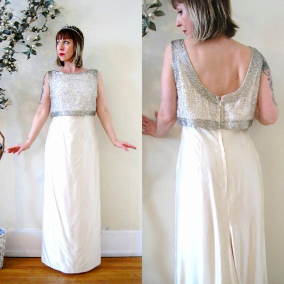 vintage 60s dress ivory white beaded silk shantung low back wedding gown bridal Audrey Hepburn