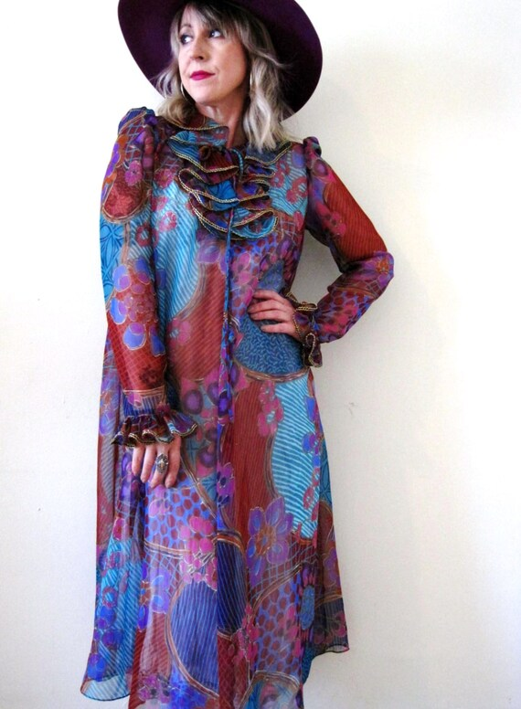 vintage 70s sheer dress colorful jewel tone psychedelic floral print ruffled neck tent puff sleeves boho avant garde
