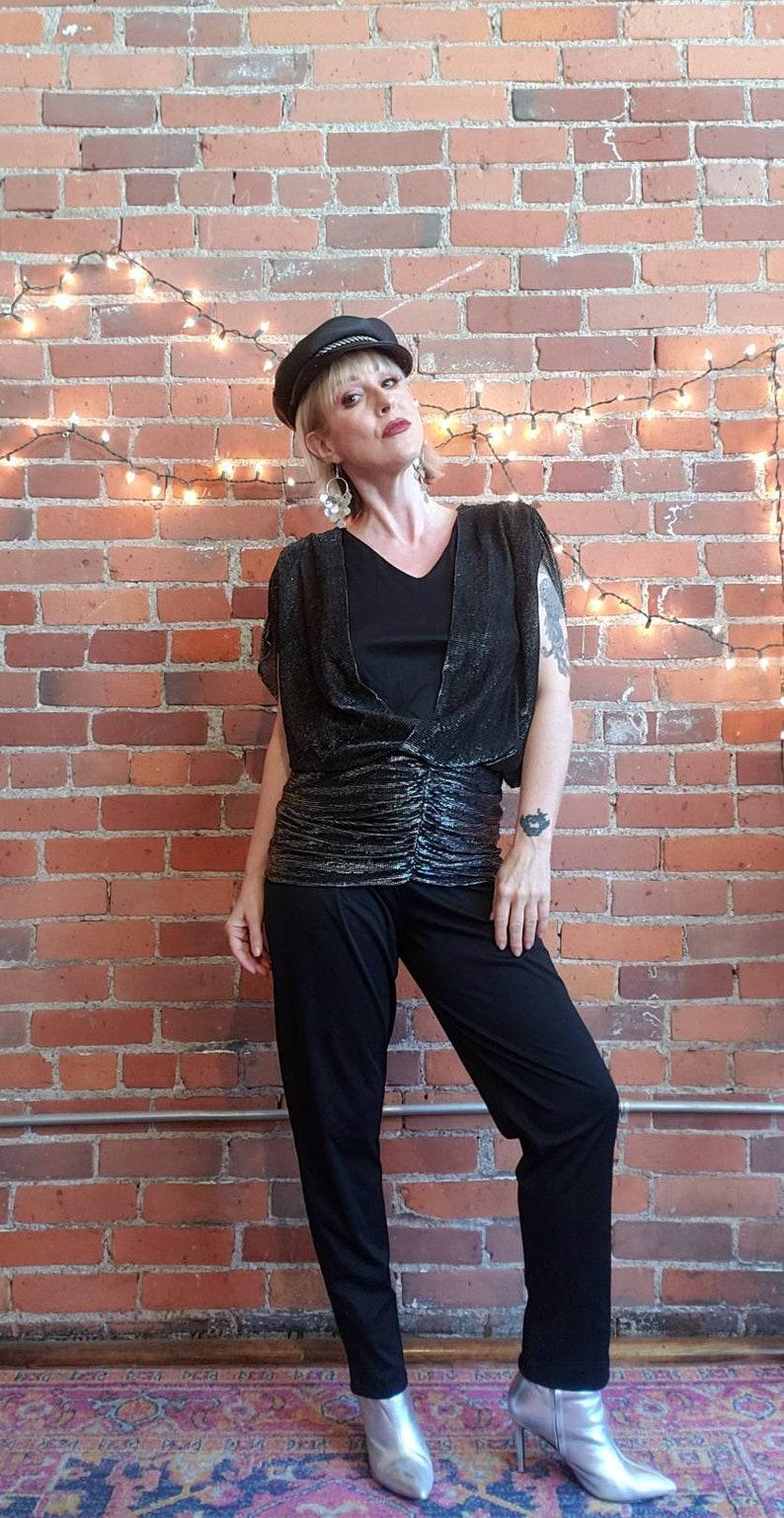 vintage 70s 80s black jumpsuit silver lurex metallic rushed bold shoulders disco new wave