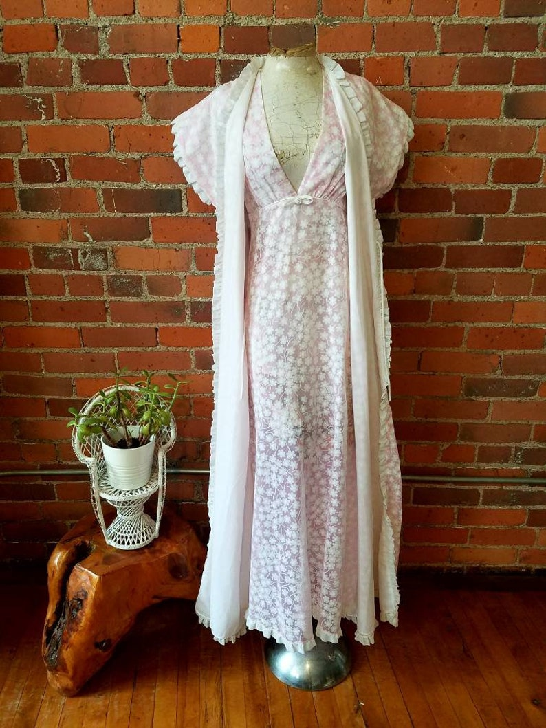 Vintage 60s 70s Christian Dior loungewear nightgown robe maxi  865d913f5