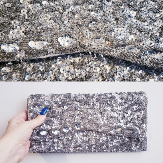 vintage 50s 60s silver beaded sequined clutch even