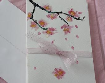 Original art card set of four, each one an original painted cherry blossom.