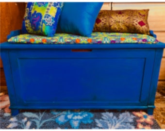 ON SALE A Bohemian Eclectic chest, that can also be used as a storage bench in Boho blue. It's chalk painted using a BoHo painting technique