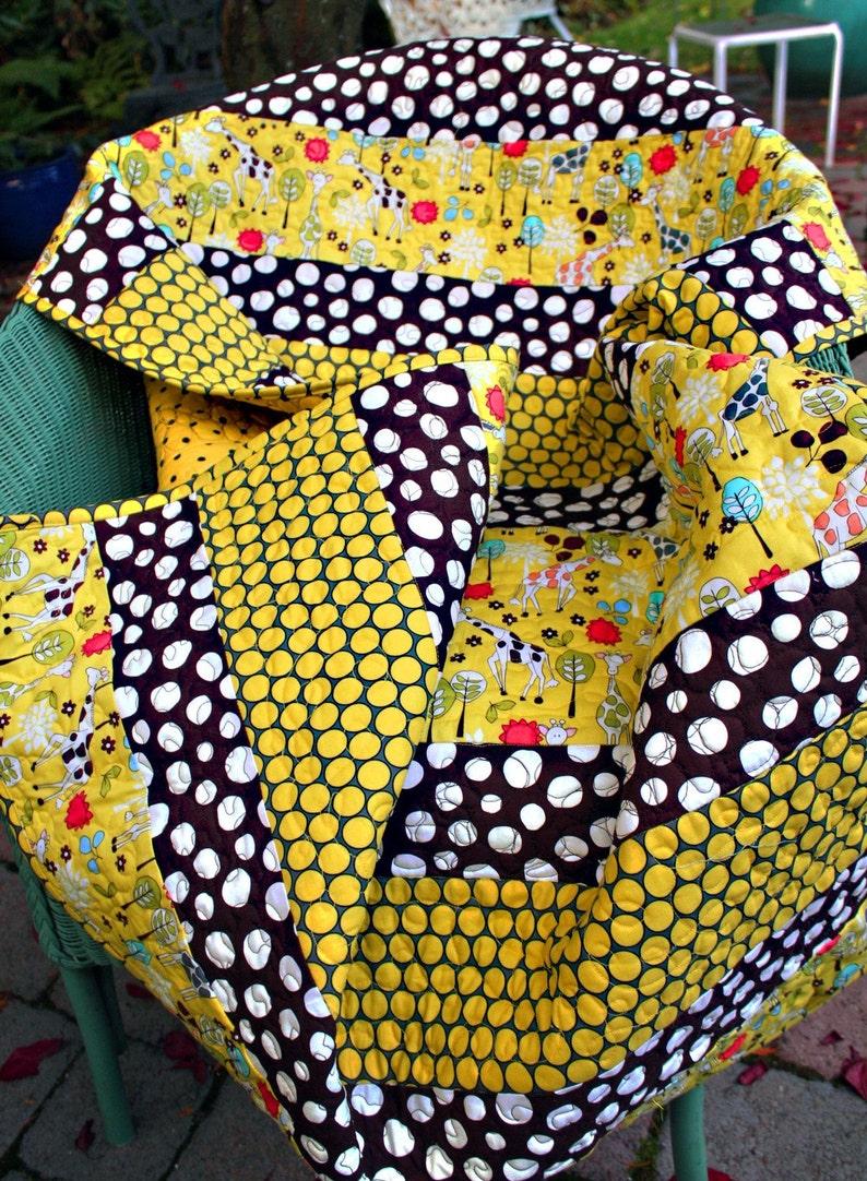 Modern baby quilt gender neutral giraffes quirky spots image 0