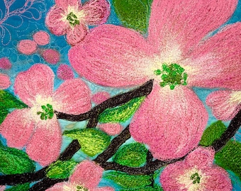 Modern stylized flowers in a contemporary wall hanging.