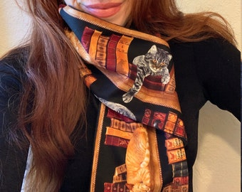 Cats & Books Scarf