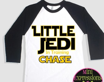 Little Brother Jedi  Raglan shirt Personalized Just For You