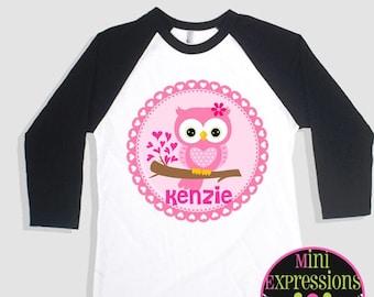 Pink Owl Valentine Raglan shirt Tshirt