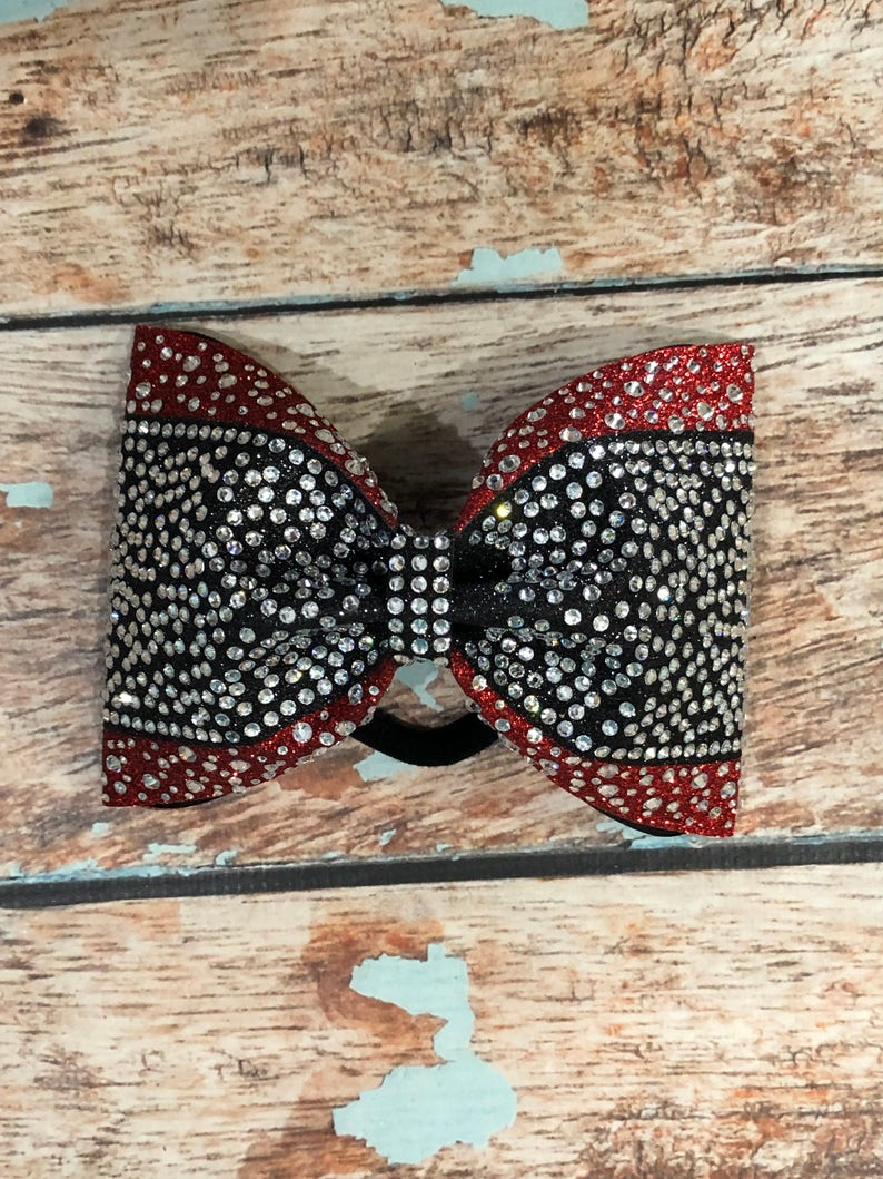 3142f2e6f2a4 Red and Black Glitter Rhinestone Tailless Cheer Bow with | Etsy