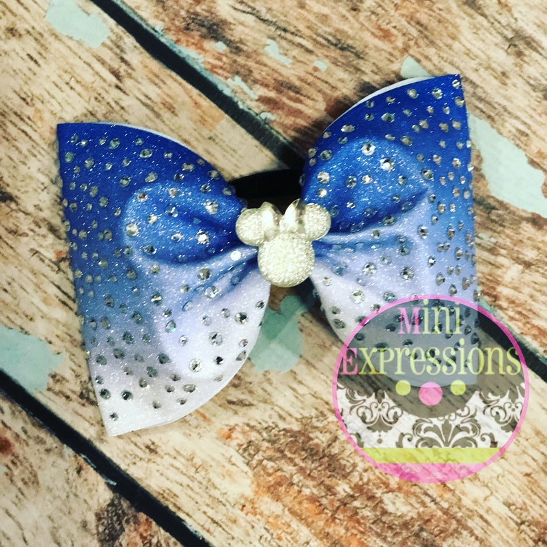 fe4643bb7144 Large Scatter ombré Glitter Rhinestone Tailless Cheer Bow with | Etsy