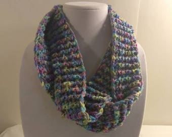 Free Shipping to US - Blue Multi-color Infinity Scarf Crochet