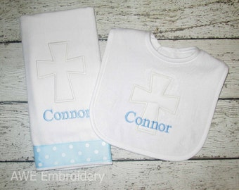 Classic Monogrammed Cross Burp Cloth and Bib for Baby Boy - Personalized Custom