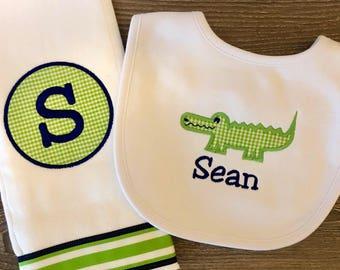 BEST SELLER - Monogrammed Alligator Burp Cloth and Bib  Gift Set for Baby Boy - Personalized Custom