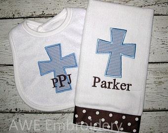 Monogrammed Cross Burp Cloth and Bib for Baby Boy - Personalized Custom