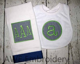 Monogrammed Burp Cloth and Bib Set - Gift for Baby Boy - Embroidered Personalized