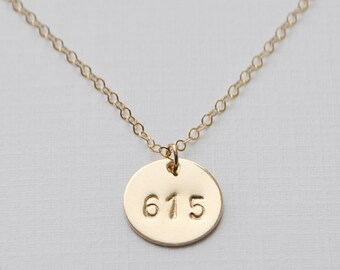 Area Code Necklace - gold filled disc 1/2 inch round charm hand stamped personalized handmade gift / mom / graduation aden and claire