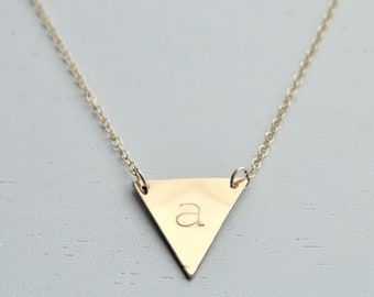 Large Gold Triangle Necklace - 14k gold filled