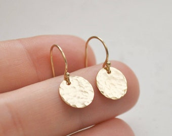 Hammered Gold Disc Earrings - circle gold filled coin round 9.5 mm dangle handmade gift for her - simple jewelry aden and claire