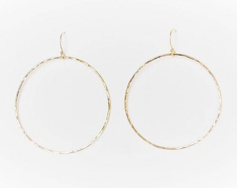 db74642cb Large Halo Gold Hoop Earrings in gold filled hammered minimalist  sustainable handcrafted jewelry by aden and claire jewelry