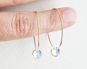Pop Sparkle Earrings in Aurora Borealis and gold filled - simple tiny crystal Swarovski gems and gold hoops