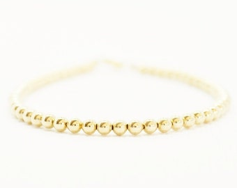 Gold Beaded Bracelet - 14k gold filled small round beads minimalist delicate layering everyday jewelry - adenandclaire