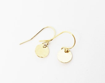 Tiny Gold Dot Earrings - hammered gold filled disc small circle dainty round handcrafted minimalist sustainable jewelry - aden and claire