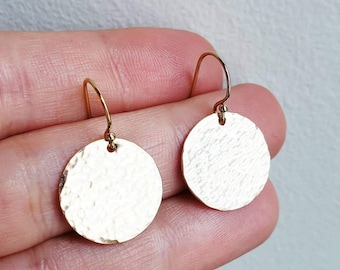 Large Gold Hammered Disc Earrings in gold filled