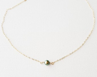 Peacock Green Single Pearl Choker Necklace - tiny round single pearl gold filled small swarovski simple dainty wedding jewelry handmade gift