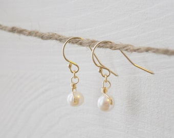 Tiny Ivory Pearl Earrings - small swarovski pearls gold filled dangle - simple wedding or everyday jewelry - adenandclaire