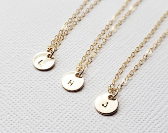 Tiny Gold Disc Initial Necklace - gold filled round personalized charm hand stamped monogram pendant gift simple everyday jewelry