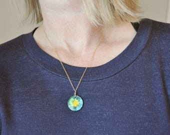 Blue Green Sun Crystal Necklace - swarovski rainbow faceted pendant on 14k gold filled chain simple modern jewelry