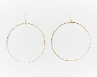 Large Halo Gold Hoop Earrings in gold filled hammered minimalist sustainable handcrafted jewelry by aden and claire jewelry