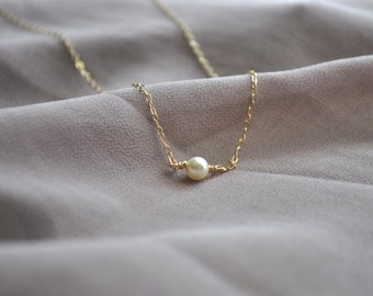 Single Pearl Necklace - tiny ivory round pearl gold filled chain simple dainty wedding jewelry handmade bridesmaid gift