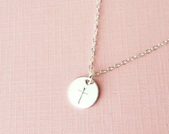 Sterling Silver Cross Necklace - small disc charm hand stamped dainty simple jewelry gift for her / mom / graduation by aden and claire