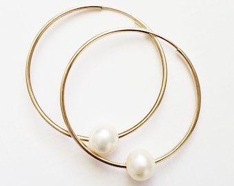 Gold Hoop Pearl Earrings - simple single freshwater ivory pearls minimalist style gold filled for the modern and traditional woman