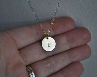 Gold Disc Initial Necklace 1/2 inch - 14k gold filled round personalized charm hand stamped letter pendant gift simple everyday jewelry