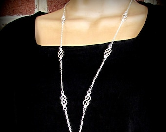Fashion Lanyard, ID Badge Holder, Necklace Lanyard Silver Lanyard, Badge Necklace, Cute ID Lanyard, Prety Lanyard - Handcrafted Celtic Knots