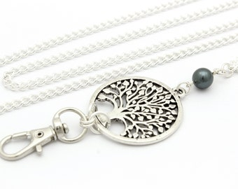 Lanyard Necklace ID Badge with Silver Tree of Life and Amethyst Gemstones Pretty Keychain Teacher Gift