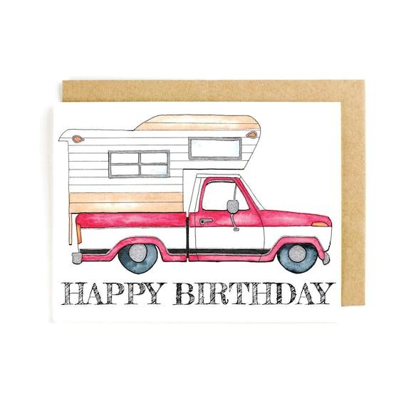 Happy Birthday Card Vintage Camper Cute Airstream Trucks RV