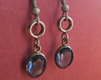 Smoky Blue Vintage Charm Earrings